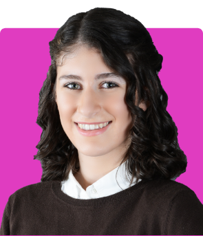 Mary-Helen Kolousek on Pink Background Keynote Size